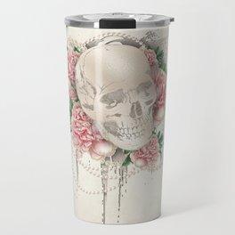 Vintage Floral Skull Travel Mug