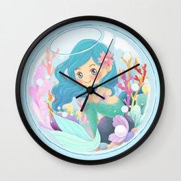Cute Mermaid pink and blue Wall Clock