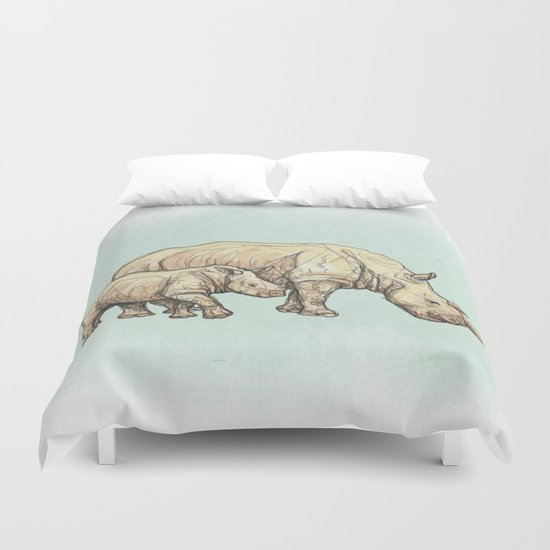 Rhino Mother and Child Duvet Cover
