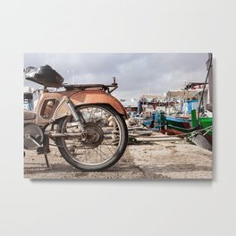 Moped in harbor Metal Print