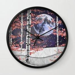 Pink Aspen Forest Wall Clock