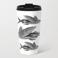 Flying Fish | Black and White Metal Travel Mug