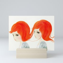 red haired twins Mini Art Print