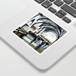 Drawing of the interior space of a large hall of an industrial modern building. Sticker