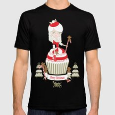 Merry Lady Christmas Cupcake Mens Fitted Tee MEDIUM Black