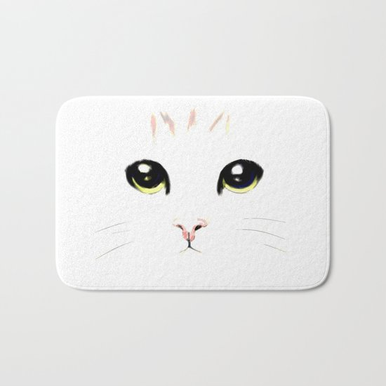 cat white Bath Mat