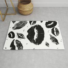 Kisses All Over (Black & White) Rug