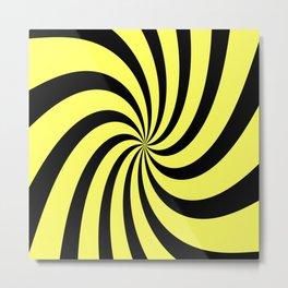 Spiral (Black & Yellow Pattern) Metal Print