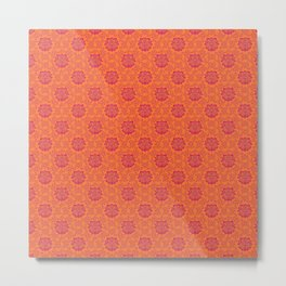 Floral Damask Copper Pink Metal Print