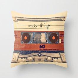 Mash Up Mixtape Vintage Record Player Cassette Tape Hybrid Throw Pillow