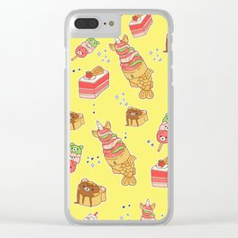 Street Treats on Yellow: Kawaii Food Clear iPhone Case