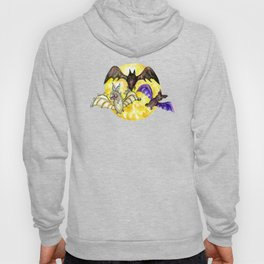 Three Bats in Watercolor Hoody