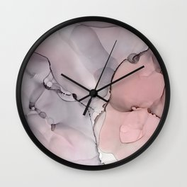 Alcohol Ink - Neutral Gray & Blush Wall Clock