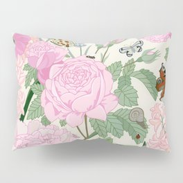 Pink flowers and butterflies Pillow Sham