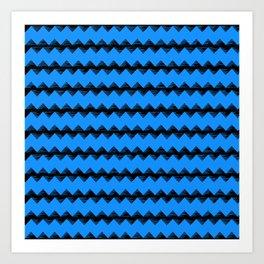 Blue and Black Sawtooth Pattern Art Print