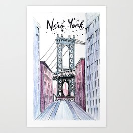 New York bridge illustration. Art Print