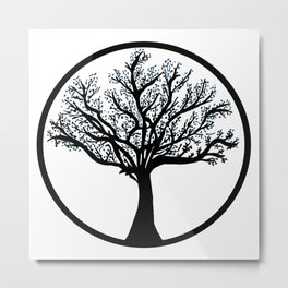 Tree in back and blue Metal Print