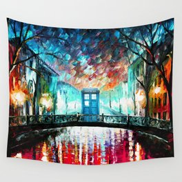 Tardis With Beautiful Starry Night Wall Tapestry