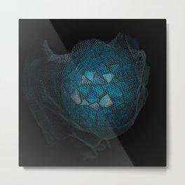Mosaic World Blue Art Metal Print