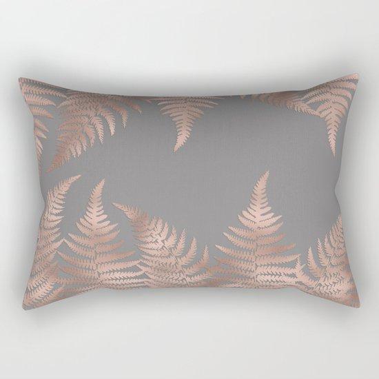 Rosegold pink metal fern leaves on grey background Rectangular Pillow