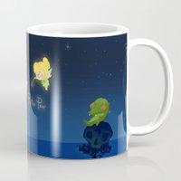 peter pan Mugs featuring Peter Pan by UniverseSunny