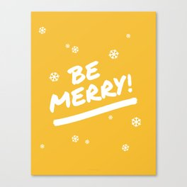 Mustard Yellow Be Merry Christmas Snowflakes Canvas Print