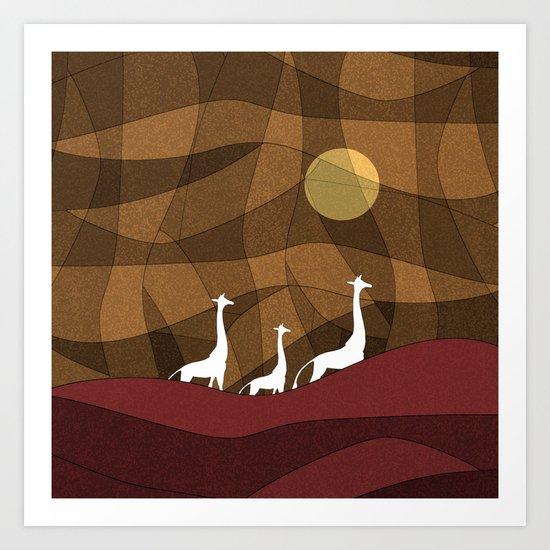 Beautiful warm giraffe family design Art Print
