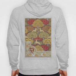 Deer and trees, wallpaper. Squirrel birds and mountain ash, border from L'animal dans la Décoration Hoody