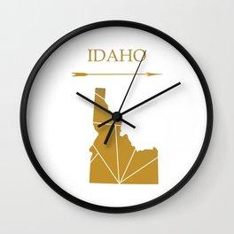 Idaho In Gold Wall Clock