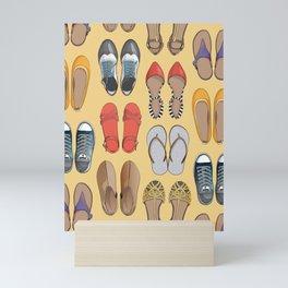 Hard choice // shoes on yellow background Mini Art Print