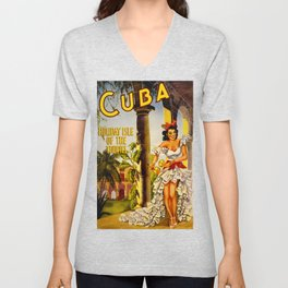 Cuba Holiday Isle of the Tropics Unisex V-Neck