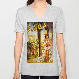 Cuba Holiday Isle of the Tropics Unisex V-Neck