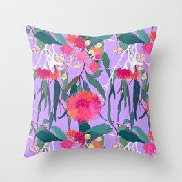 Australian Gumnut Eucalyptus Floral in Lilac Orchid Throw Pillow
