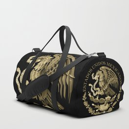Mexican flag seal in sepia tones on black bg Duffle Bag