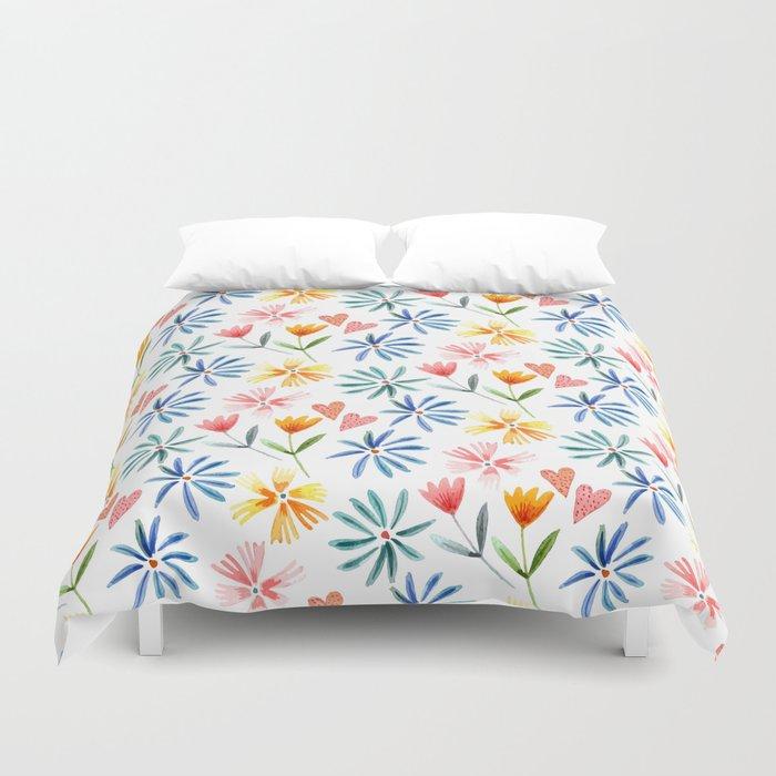 homespun spring floral Duvet Cover