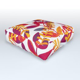 Watercolor branches - purple and orange Outdoor Floor Cushion