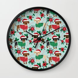 Dachshund christmas sweater poinsettia cute holiday gifts doxie dachsie dog breed Wall Clock