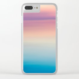Modern watercolor navy blue pink sunset pattern Clear iPhone Case