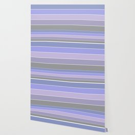Striped in blue, lilac and grey tones and simple pattern . Wallpaper