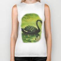 black swan Biker Tanks featuring Black Swan by OLHADARCHUK