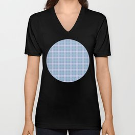 White & Aqua Plaid Pattern with Light Blue Background Unisex V-Neck