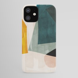 mid century shapes abstract painting 3 iPhone Case