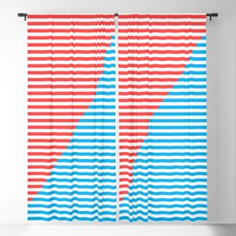 Geometric, Abstract, Red And Blue Stripes, poster Blackout Curtain