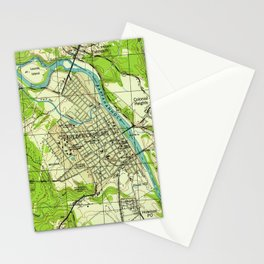 Vintage Map of Fredericksburg Virginia (1944) Stationery Cards