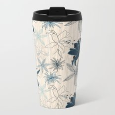 Dark wood grain flowers Metal Travel Mug
