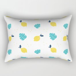Modern sunshine yellow teal tropical cheese leaves summer fruit pattern Rectangular Pillow