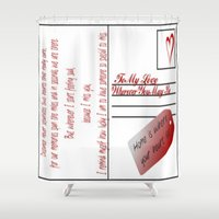 postcard Shower Curtains featuring Postcard of Love by ViviRajski