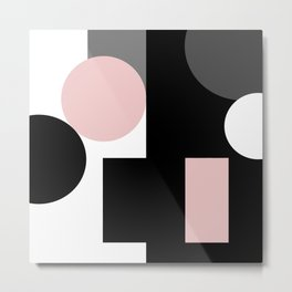 An abstract geometric pattern . Geometric shapes . Black pink white pattern . Metal Print