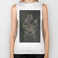 falcon Biker Tanks featuring Millennium Falcon by LindseyCowley
