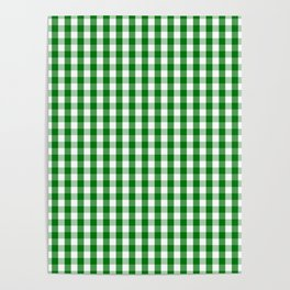 Christmas Green Gingham Check Poster